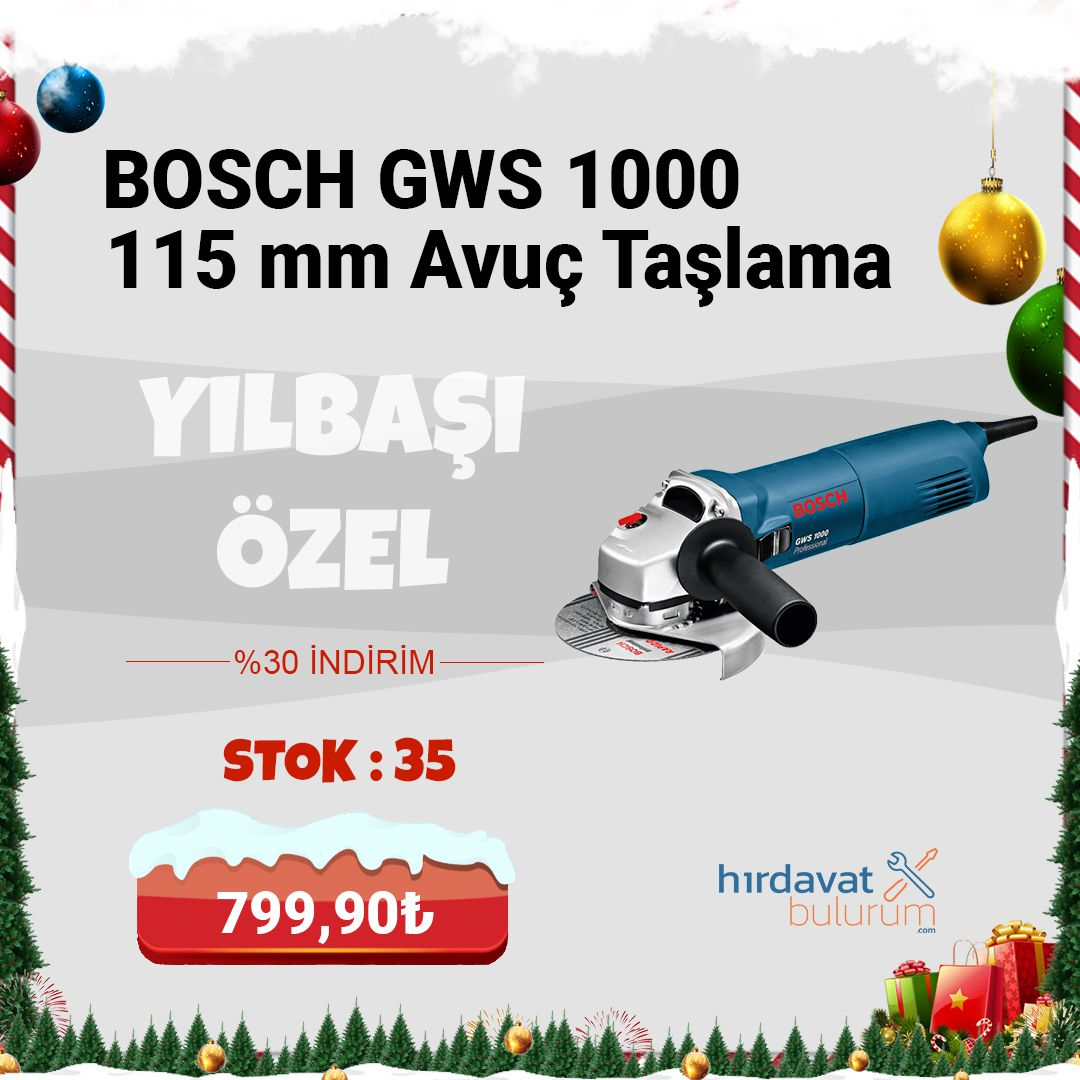 Bosch GWS 1000 115 mm 1000W Avuç Taşlama