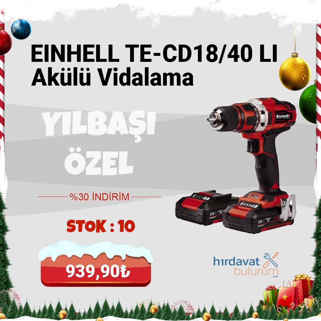 Einhell TE-CD18/40 Li Akülü Vidalama 18V 2 Amp