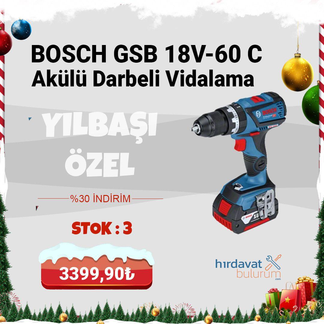 Bosch GSB 18V-60 C Akülü Darbeli Vidalama 4 Amp