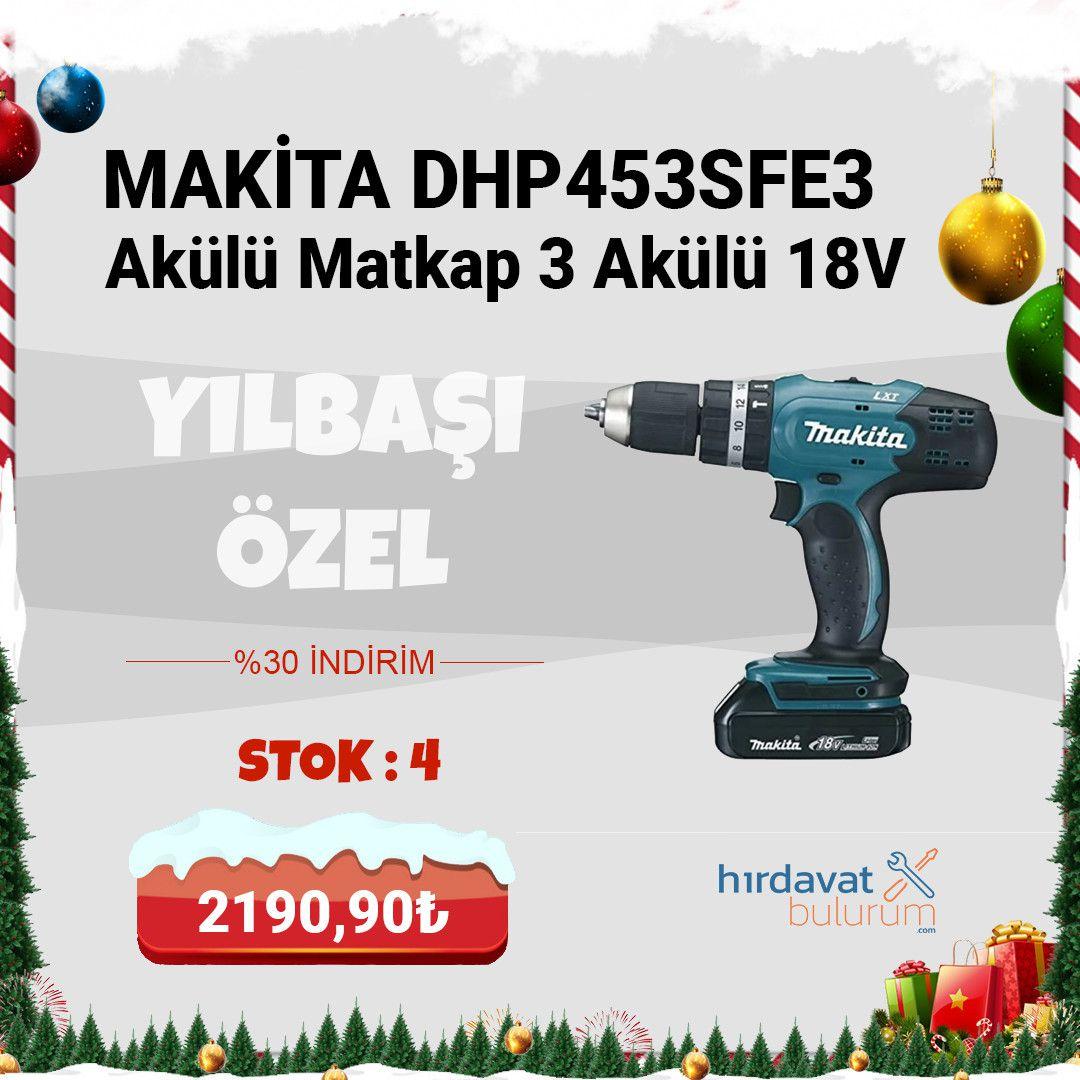 Makita DHP453SFE3 Akülü Matkap 3 Akülü 18V 3.0Ah