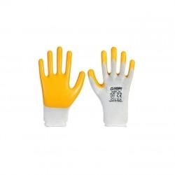 Demir Safety D007 Sarı-Beyaz Nitril Eldiven No:10