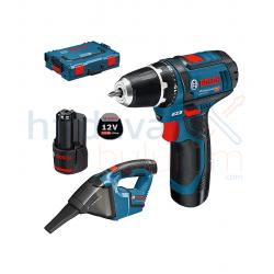 Bosch GSR 10.8 Akülü Vidalama + GAS 10.8 Akülü Süpürge Seti